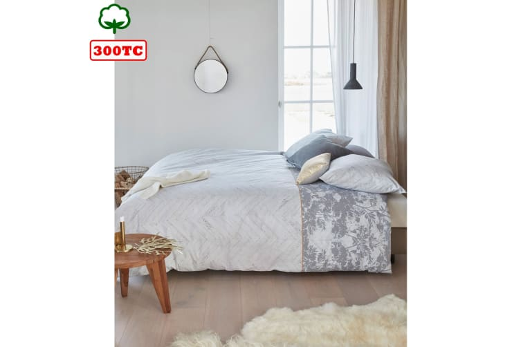 Faye Grey Quilt Cover Set King