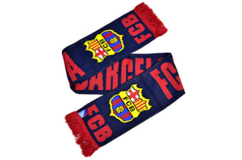 FC Barcelona Official Football Crest Winter Scarf (Navy/Red) (One Size)