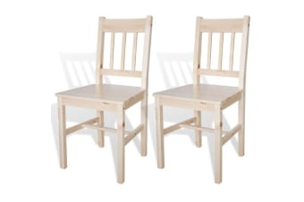 vidaXL Dining Chairs 2 pcs Wood Natural Colour