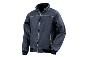 Result Mens Stone Wash Denim Bomber Jacket (Washed Navy) (XXL)