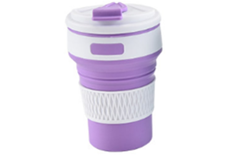 Select Mall Creative Silicone Folding Cup Portable Travel Retractable Cup Collapsible Travel Cup Folding Camping Cup-Purple