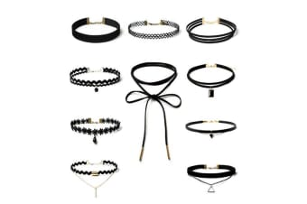10 Pieces Choker Necklace Set Stretch Velvet Classic Gothic Tattoo Lace Choker Necklaces, Black  G0062