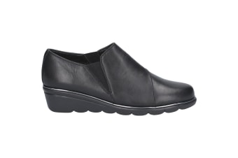 The Flexx Womens/Ladies Boost Leather Slip-on Shoe (Black)