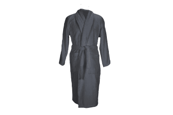 A&R Towels Adults Unisex Bath Robe With Shawl Collar (Graphite) (L/XL)