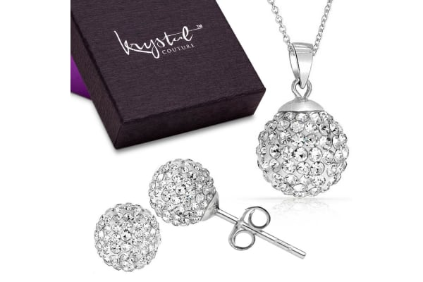 .925 Shamballa Pendant And Earrings Set-Silver/Clear