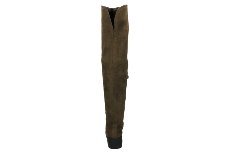 Spot On Womens/Ladies Mid Heel Over The Knee Boots (Taupe) (UK 3)