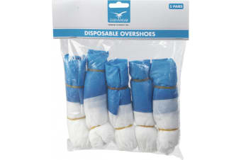 Glenwear Disposable Overshoes (5 Pairs) (Blue/White)