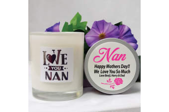 Love You Nana Scented Soy Candle 45hours Personalised Lid
