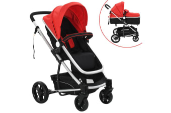 vidaXL 2-in-1 Baby Stroller/Pram Aluminium Red and Black
