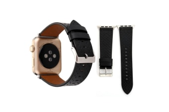 For Apple Watch Series 4 3 2 1 Black Perforated Genuine Leather Strap 44mm 42mm