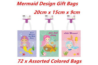 72 x 20CM Kraft Craft Mermaid Design Paper Party Carry Bags Handle Gift Bags Bulk Buy