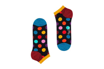 Happy Socks Big Dot Low Sock (Black/Blue/Yellow/Burgundy, Size 36-40)