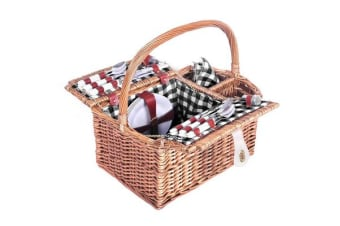 Alfresco Deluxe 4 Person Picnic Basket (Black/White)