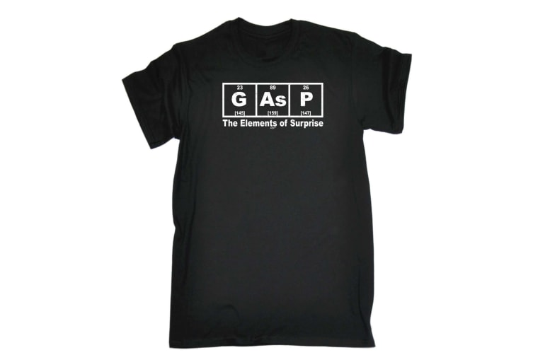 123T Funny Tee - Gasp The Elements Of Surprise - (X-Large Black Mens T Shirt)