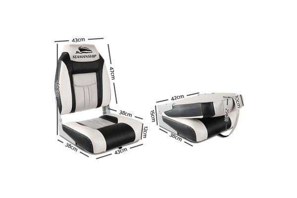 Set of 2 Swivel Folding Boat Seats (White/Black)
