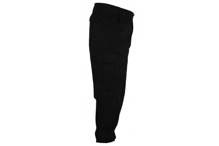 Duke Mens Robert-D555 Peached And Washed Cotton Cargo Trousers (Black) (54L)