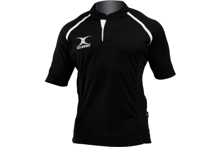 Gilbert Rugby Mens Xact Game Day Short Sleeved Rugby Shirt (Black) (XL)