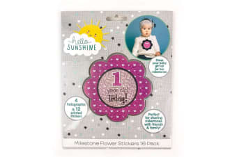 Hello Sunshine 1-Year-Old Today Milestone Flower Stickers 16-Pack Set