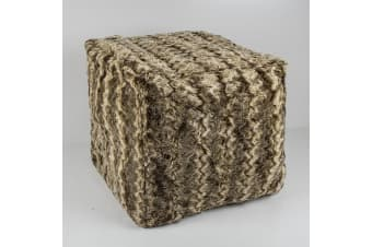 Bambury Faux Fur Cube Cover - 43 x 43 x 43cm - Liner Incuded - Mocha Ripple
