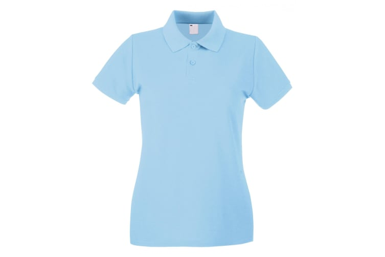 Womens/Ladies Fitted Short Sleeve Casual Polo Shirt (Light Blue) (Small)