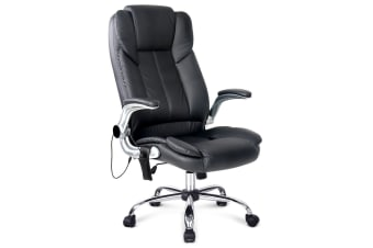 PU Leather 8-point Massage Office Chair (Black)