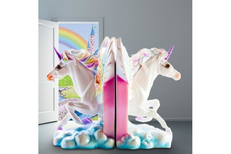 Magical Unicorn Bookends Reading Book Ends Horse Wings Pegasus Girls Shelf Rainbow