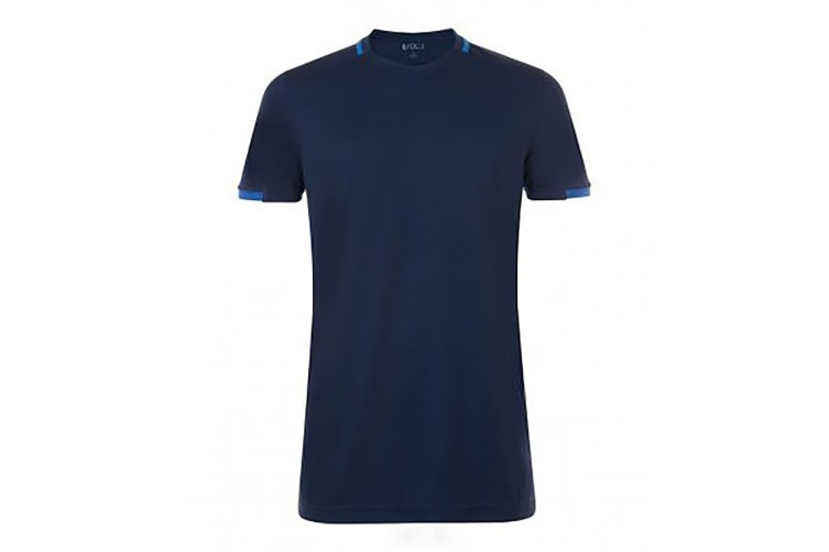 SOLS Mens Classico Contrast Short Sleeve Football T-Shirt (French Navy/Royal Blue) (XXL)
