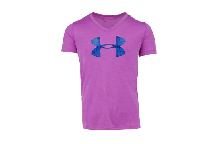 Under Armour Girls' Tech Big Logo V-Neck (Purple Heather/Blue Print, Size S)