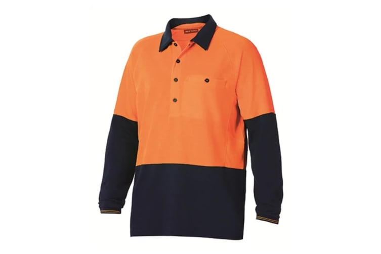 Hard Yakka High Visibility Two-Tone Long Sleeve Ventilated Polo Top (Orange, Size M)