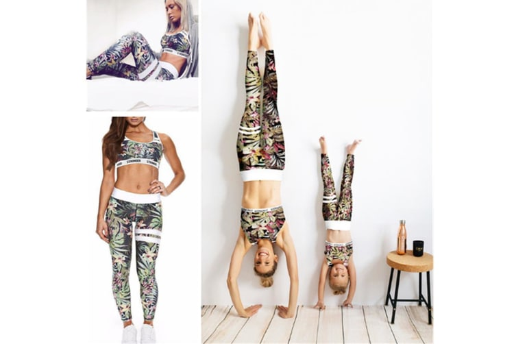 2 Pieces Floral Print Tracksuit Yoga Legging Crop Top Suit For Mother And Daughter - 2 (5-7 Years)