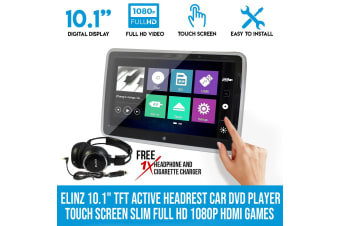 """Elinz 10.1"""" TFT Active Headrest Car DVD Player Touch Screen Slim Full HD 1080P HDMI Games"""