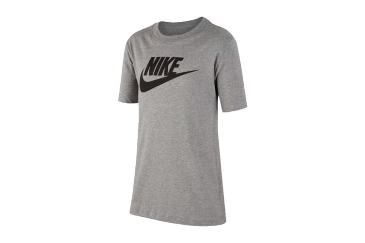 Nike Sportswear Boy's T-Shirt (Dark Grey Heather/Black, Size L)