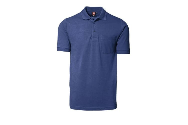 ID Mens Classic Short Sleeve Pique Regular Fitting Polo Shirt With Pocket (Royal blue) (S)