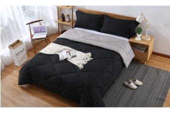 Microfibre Reversible Comforter Set Variant Size BLACK+GREY - King