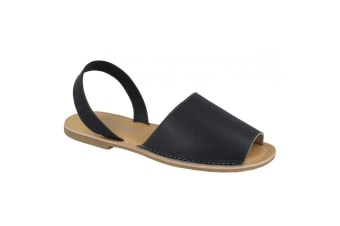 Leather Collection Womens/Ladies  Slingback Mule Sandals (Navy Leather)