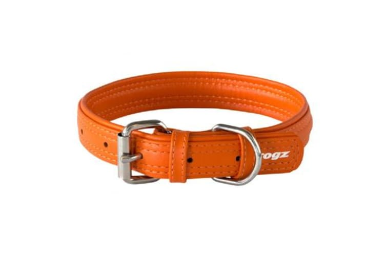 Rogz Leather Buckle Collar Orange - XS