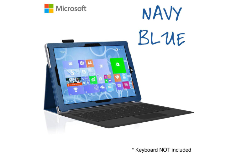 """Microsoft Surface Pro 6 / Pro 5 / Pro 4 (12.3"""") Slim Folio Flip Case by MEZON – Compatible with Type Cover Keyboard – With Screen Protector and Stylus – Navy Blue"""