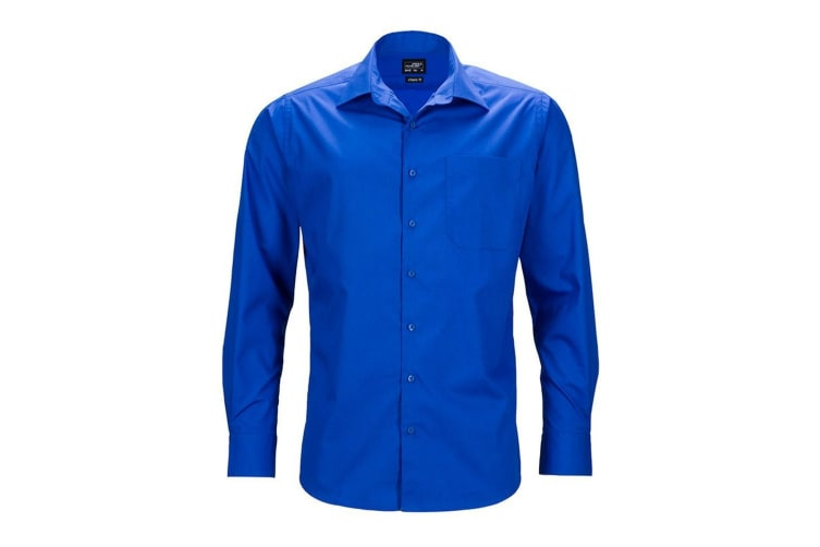 James and Nicholson Mens Longsleeve Business Shirt (Royal Blue) (3XL)