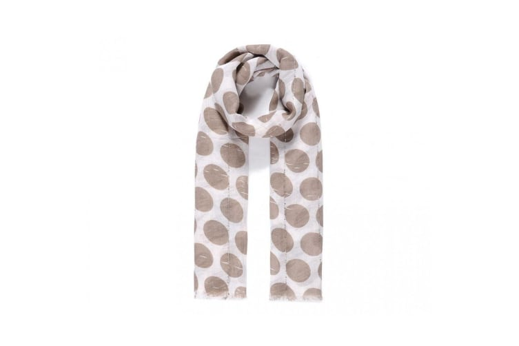 She Loves Gifts Womens/Ladies Faded Circle Print Embellished Scarf (Beige) (One Size)