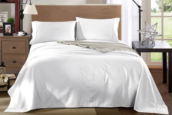 Smith Royal Comfort Kensington 1200tc 100 Egyptian Cotton Stripe Bed Sheet Set Double White Sets
