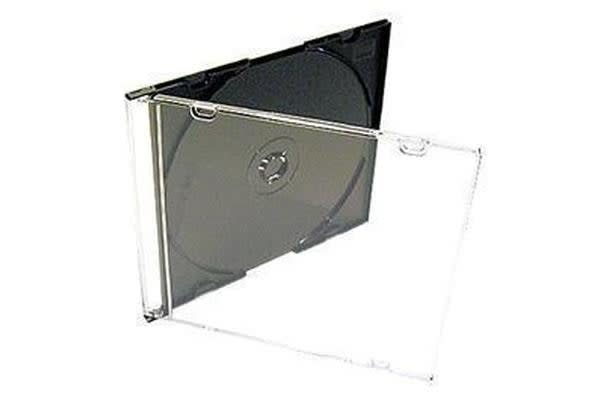 Imatech CD Jewel Case Single Clear Cover with Black Tray Bulk