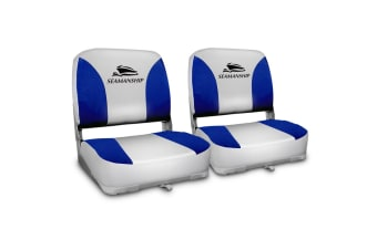 Seamanship Set of 2 Swivel Folding Boat Seats (Grey/Blue)