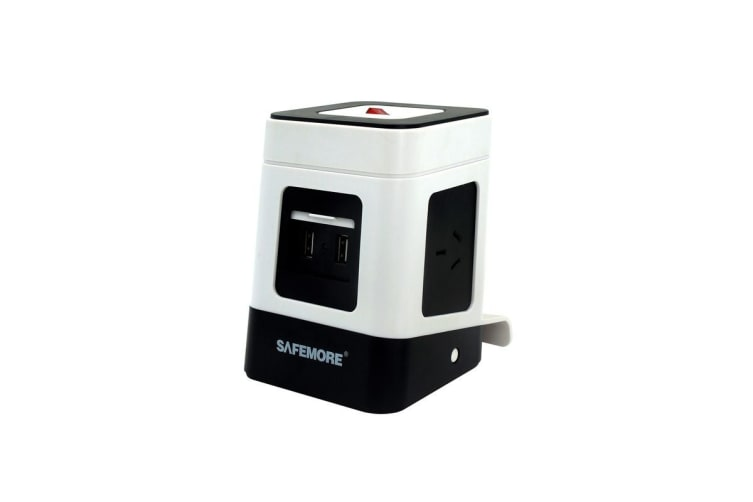 Safemore VPS Minio Power Stackr with 3 Outlets & 2 USB - White/Black  (ZL2U3GA-WB)