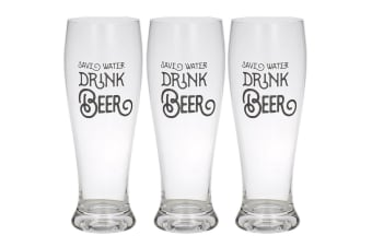 3PK Giftworks 550ml Beer Drink Drinking Glass Barware -Save Water Drink Beer CLR