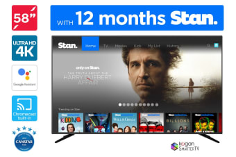 "Kogan 58"" XU9010 4K LED SmarterTV™ (Android TV™, Smart TV) including 12 months Stan Subscription"