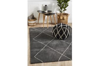 Carter Charcoal & Ivory Soft Contemporary Rug 340x240cm