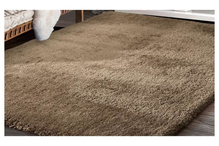 Luxury Soft Plush Thick Rectangle Shaggy Floor Rug TAUPE 60x220cm