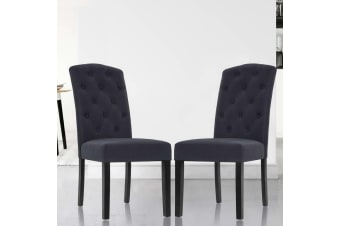 Artiss 2x Dining Chairs French Fabric Padded Chair Cafe High Back Wood Dark Grey