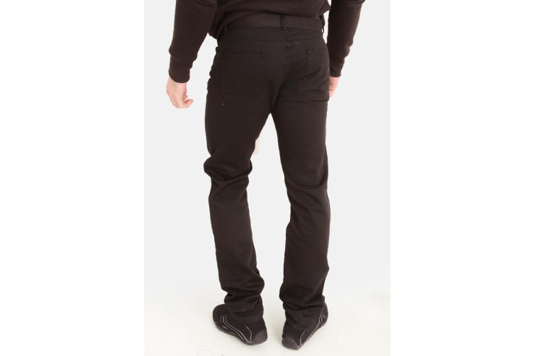 Duke London Mens Mario Bedford Cord Trousers With Belt (Black) (30R)