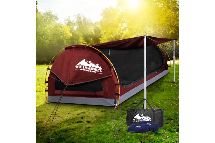 Double Swag Camping Swags Canvas Free Standing Dome Tent Bag Red